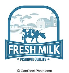 Fresh milk label or stamp