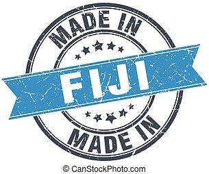 made in Fiji blue round vintage stamp