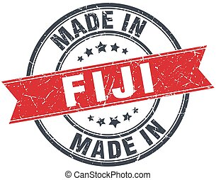 made in Fiji red round vintage stamp