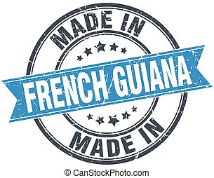 made in French Guiana blue round vintage stamp