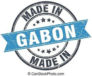 made in Gabon blue round vintage stamp