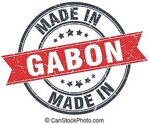 made in Gabon red round vintage stamp