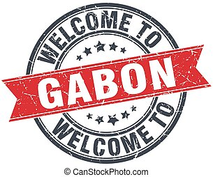 welcome to Gabon red round vintage stamp