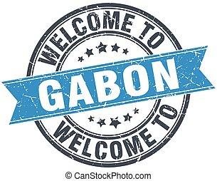 welcome to Gabon blue round vintage stamp