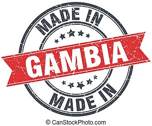 made in Gambia red round vintage stamp