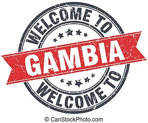 welcome to Gambia red round vintage stamp