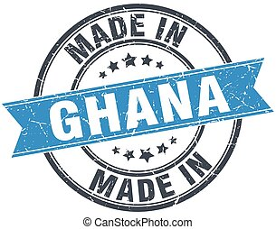 made in Ghana blue round vintage stamp