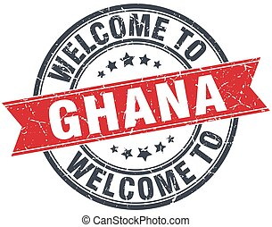 welcome to Ghana red round vintage stamp