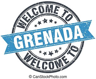 welcome to Grenada blue round vintage stamp