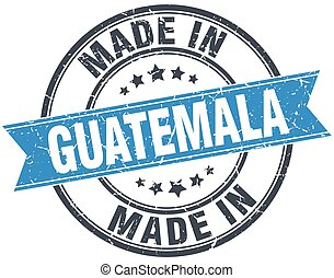 made in Guatemala blue round vintage stamp