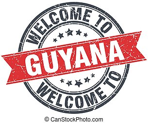 welcome to Guyana red round vintage stamp