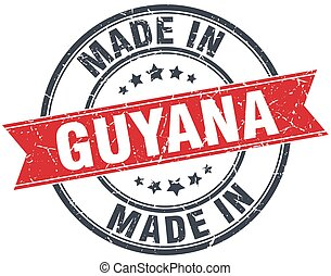 made in Guyana red round vintage stamp
