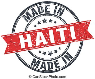 made in Haiti red round vintage stamp