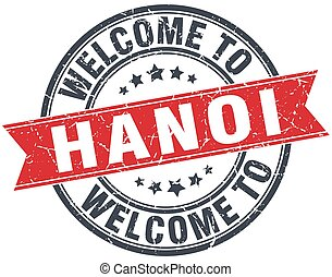 welcome to Hanoi red round vintage stamp