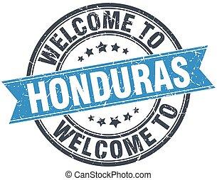 welcome to Honduras blue round vintage stamp