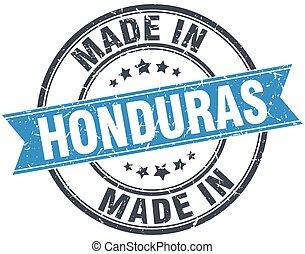 made in Honduras blue round vintage stamp
