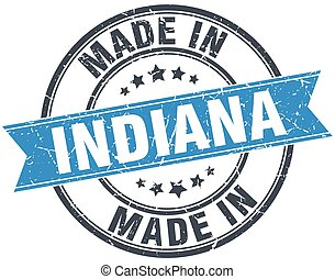 made in Indiana blue round vintage stamp