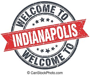welcome to Indianapolis red round vintage stamp