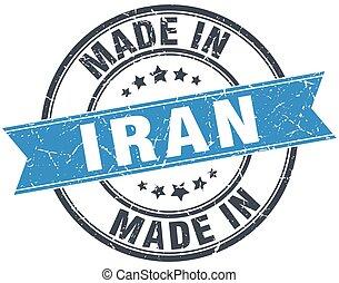 made in Iran blue round vintage stamp