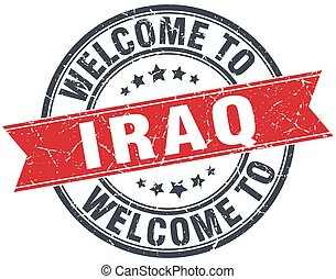 welcome to Iraq red round vintage stamp