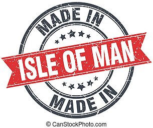 made in Isle Of Man red round vintage stamp