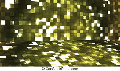 Broadcast Firey Light Hi-Tech Squares Stage, Yellow, Abstract, Loopable, HD