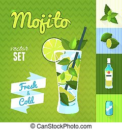 Mojito Cocktail Set Vector illustration, eps10 - Set of...