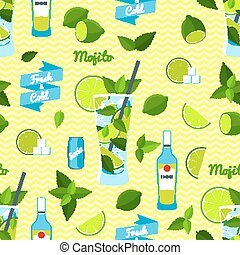 Mojito Cocktail, Seamless Pattern - Set of Mojito Cocktail...