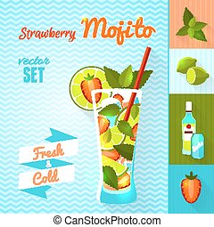 Strawberry Mojito Cocktail Set Vector illustration, eps10 -...