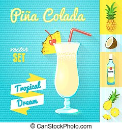Pina Colada Cocktail Set. Vector illustration, eps10. - Set...