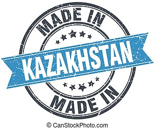 made in Kazakhstan blue round vintage stamp