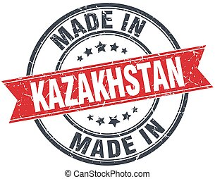made in Kazakhstan red round vintage stamp