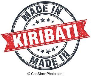 made in Kiribati red round vintage stamp