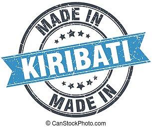 made in Kiribati blue round vintage stamp