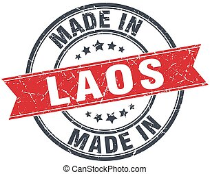 made in Laos red round vintage stamp