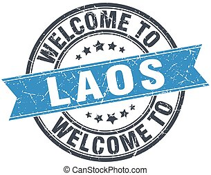 welcome to Laos blue round vintage stamp