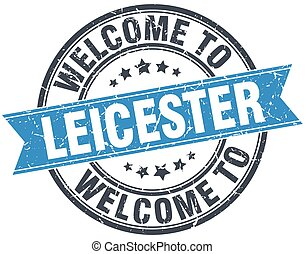 welcome to Leicester blue round vintage stamp