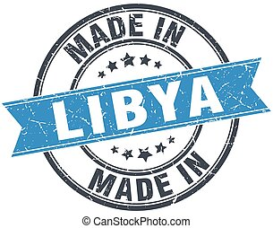 made in Libya blue round vintage stamp