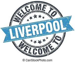 welcome to Liverpool blue round vintage stamp