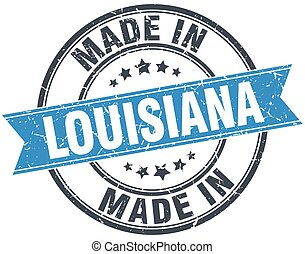 made in Louisiana blue round vintage stamp