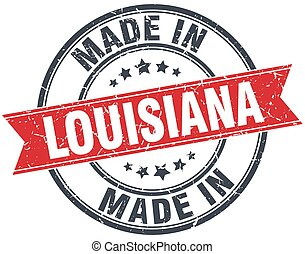 made in Louisiana red round vintage stamp