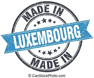 made in Luxembourg blue round vintage stamp