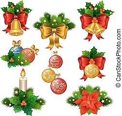 Christmas festive ornaments icons set. Decoration from christmas tree branches, christmas star, holly, balls,  and gold bells with red ribbon.