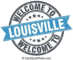welcome to Louisville blue round vintage stamp