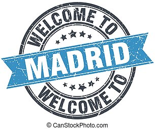 welcome to Madrid blue round vintage stamp