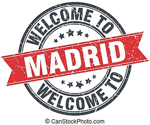 welcome to Madrid red round vintage stamp