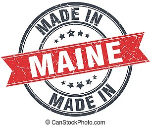 made in Maine red round vintage stamp