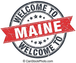 welcome to Maine red round vintage stamp