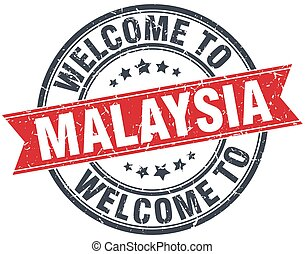 welcome to Malaysia red round vintage stamp