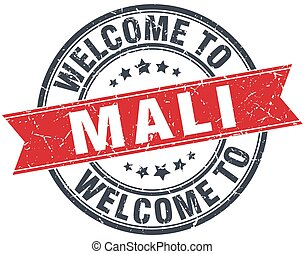 welcome to Mali red round vintage stamp